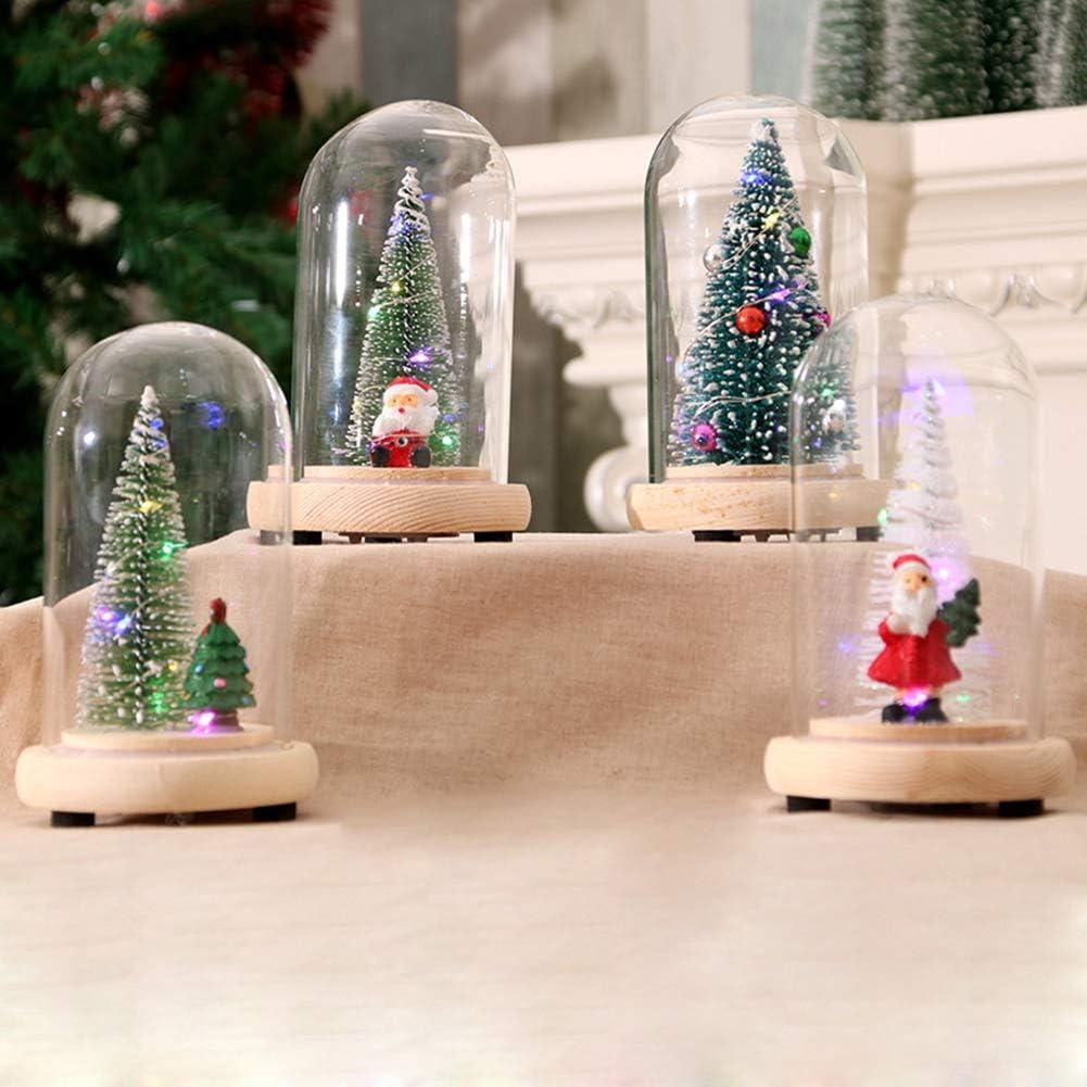 Mrinb Cloche en Verre Sapins de No/ël D/écorative avec LED,D/ôme en Verre de D/écoration de No/ël,Cloche de No/ël sous Verre,Cloche de Sapin De No/ël,Cadeau de Noel