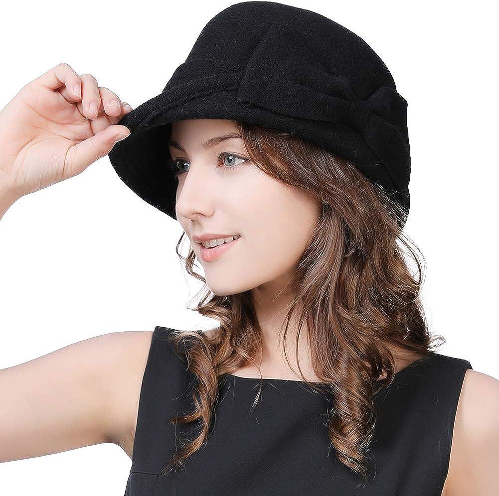 Womens Black Vintage Wool Felt Cloche Bucket Hat Winter Bowler Cap Packable at  Women's Clothing store