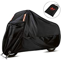 WinPower Motorcycle Cover All Season Waterproof Dust UV Protection 210D Oxford Durable Tear Resistant Motorbike Cover for 104 inches Honda, Suzuki, Kawasaki, Yamaha, Harley and More (XXXL)