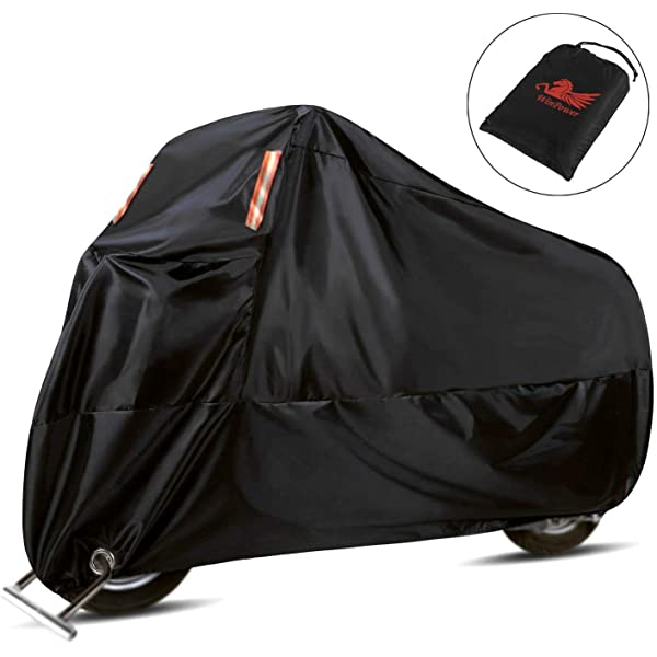 MoKo Motorcycle Cover Black 210D Oxford Cloth XL Dustproof 96.5 inch Universal Protective Large Cover All Season Sun Protection Case for Motorbike Outdoor Use