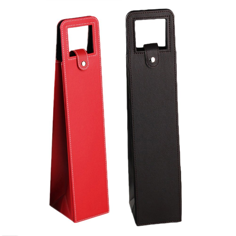 BESTONZON 2 Pcs Wine Bottle Protector Sleeve Travel Wine Bags for Safe Transportation Advanced Leather Fashion(Red and Black,41x9x9cm)