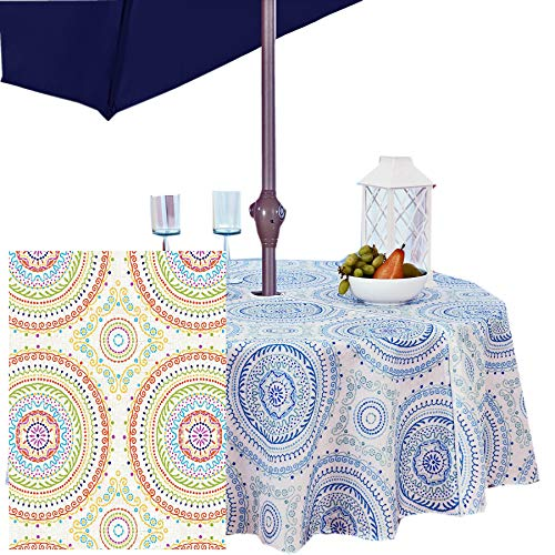 Circle Stitch Contemporary Print Indoor/Outdoor Soil Resistant Fabric Tablecloth - 70 Inch Umbrella Hole Zipper Round, Multi