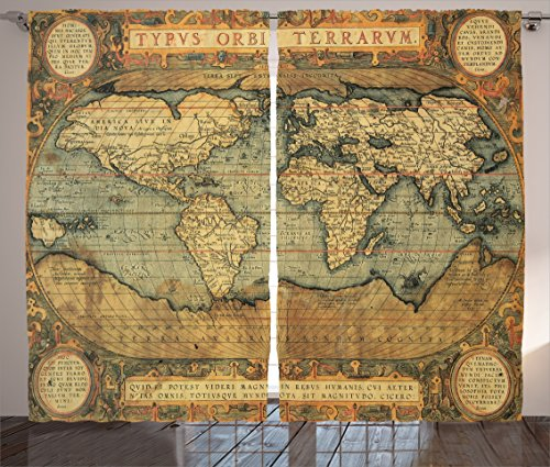 Ambesonne Wanderlust Decor Collection, 16th Century Map of the World History Adventure Boundaries Cartography Civilization Image, Living Room Bedroom Curtain 2 Panels Set, 108 X 84 Inches, Olive