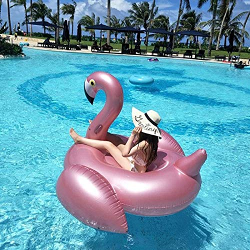 WYL Giant Inflatable Flamingo Floating Row Adults Kids Summer Beach Toy Swimming Pool Party Lounge Raft-Rosegold by WYL (Image #4)