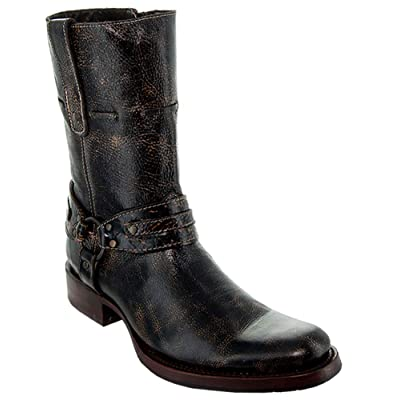 Soto Boots Men's Vintage Washed Round Toe Harness Boots H50023 | Western