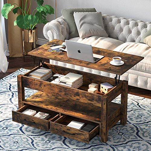 Wood coffee table with lift top, drawers and hidden compartment