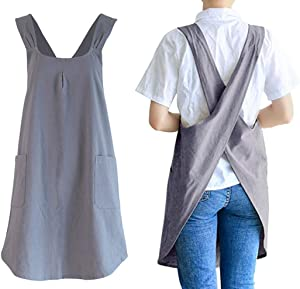 Soft Cotton Linen Apron Cross Back X-Shaped Japanese Style Pinafore Dress for Cooking, Housewarming, Daily Chores (grey, (28.3