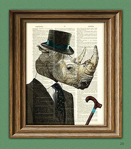Sir Saggy Skin Gentleman Rhinoceros Rhino with fancy hat and cane over an upcycled vintage dictionary page book art print