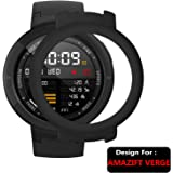 Taslar Soft Silicone Ultra Thin PC Shockproof Coverage Full Protective Bumper Case Cover for Amazfit Verge (Black)