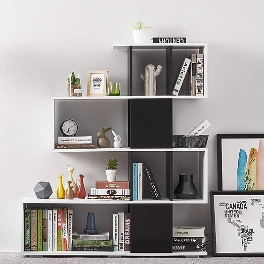 Keinode Estantería en Forma de S para Libros, CD y DVD, Estante de Almacenamiento de Madera, Escalera, estantería, Organizador, estantes, estantes, estantes, para Dormitorio, Sala de Estar u Oficina: Amazon.es: Hogar