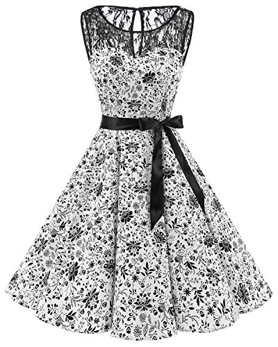 - Bbonlinedress Women's 1950s Vintage Rockabilly Swing Dress Lace Cocktail Prom Party Dress White Skull XL