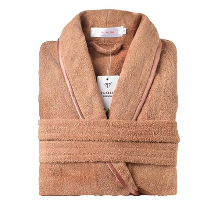 Pijamas unisex de invierno y otoño, largos y gruesos Robe-Coffee