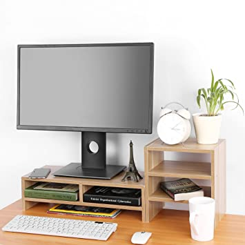 Amazon Com Computer Monitor Stand Riser With Drawers Laptop Tv