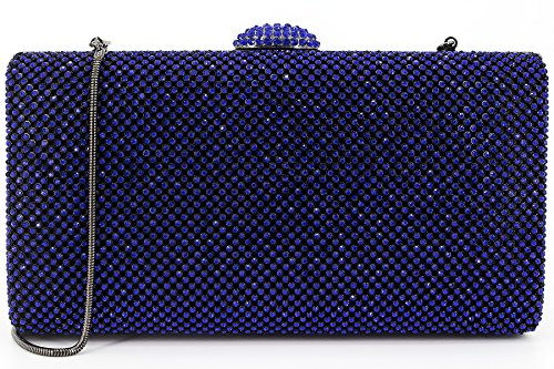 Dexmay Large Rhinestone Crystal Clutch Evening Bag Women Clutch Purse for Cocktail Prom Party Cobalt blue (Box Cobalt)