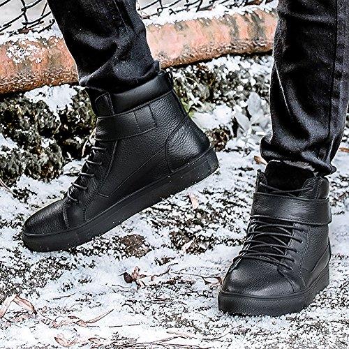 Abby Bh5853 Mens Boots Attraktiv Tillfällig Hög Topp Spets-up Värmande Ull Läder Svart