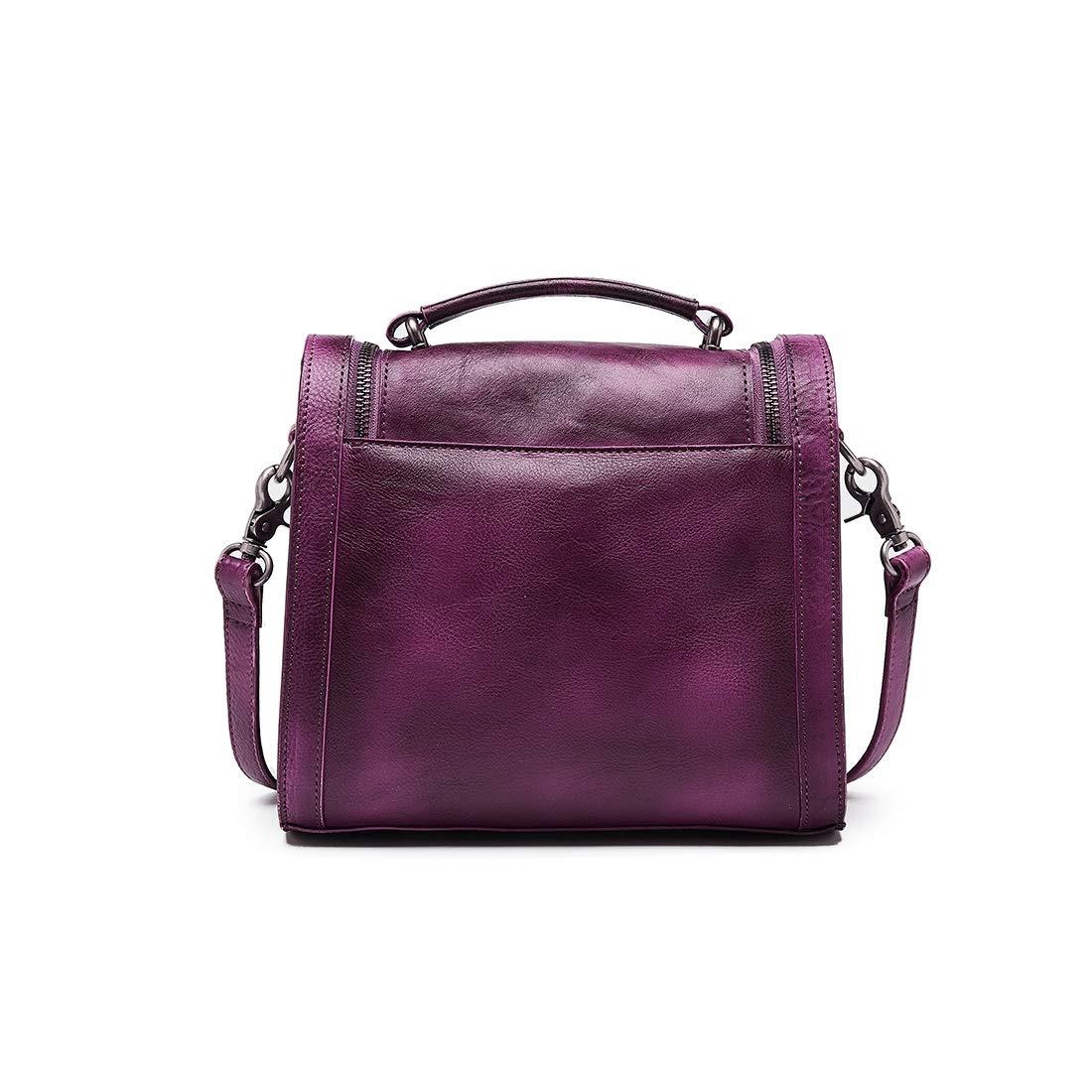 AIYAMAYA Crossbody Bag for Women Vintage Genuine Leather Top Handle Tote Purses Satchels Handbag