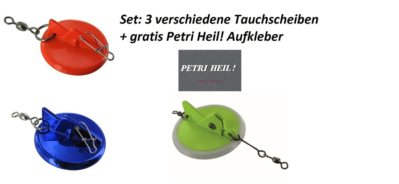 + Gratis Petri Heil 45, 65 /& 87mm Aufkleber Jenzi Set: 3 Verschiedene Tauchscheiben Disc Diver