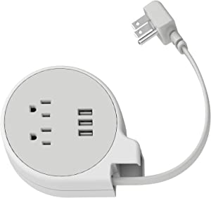 iHome Power Reach Tract Charging Station: Small Compact Manually Retractable Travel Power Strip with 3 USB Ports, 2 AC Outlets and 4 ft Retractable Extension Cord, White