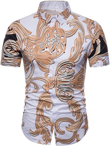 XJWDTX Camisa De Verano para Hombre De La Moda con Estampado Dorado con Solapa Fina para Hombre De Manga Corta: Amazon.es: Deportes y aire libre