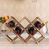 Ferfil Wine Rack, Wood Wine Storage Racks Countertop, 10 Bottle Wooden Stackable Wine Cellar Racks, Foldable Tabletop Free St