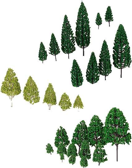 10pcs Branched Model Trees Train Railway Park Scenery Layout HO Dark Green