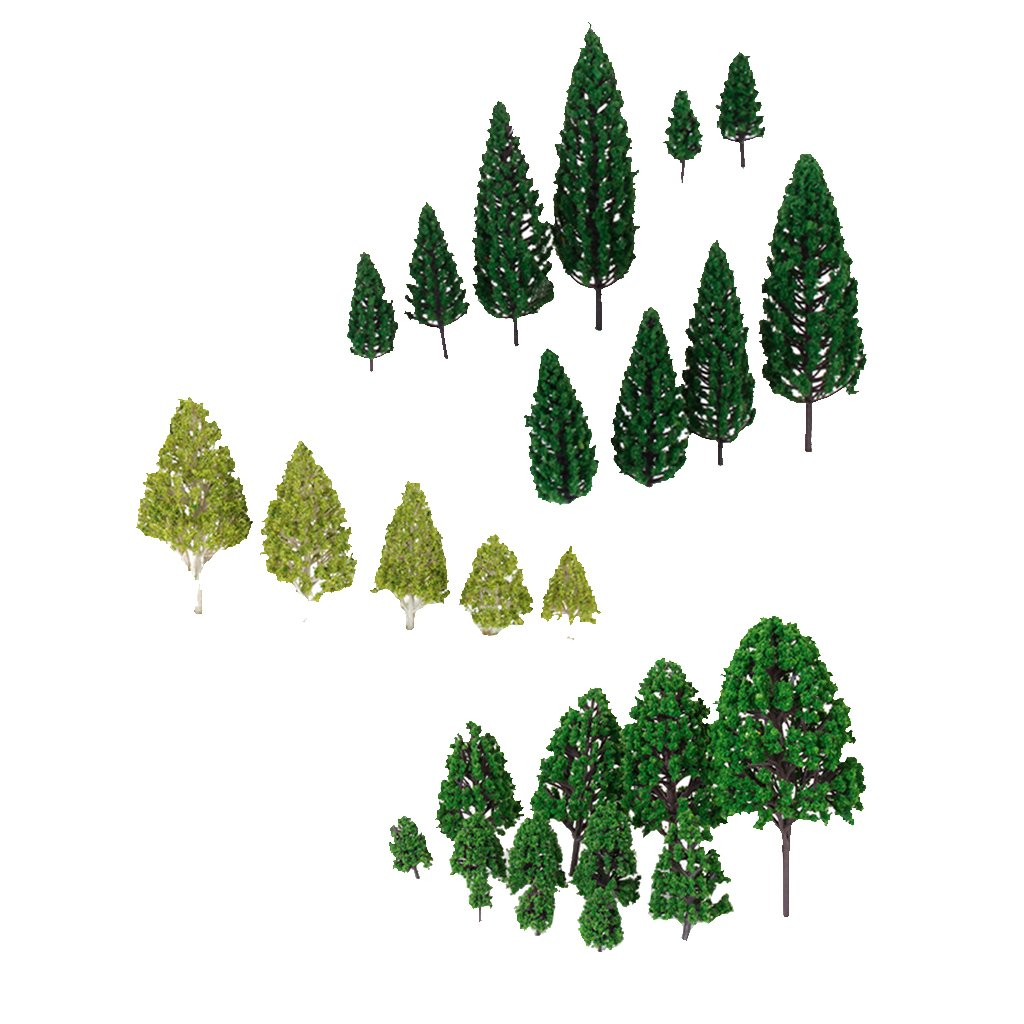27pcs Mixed Model Trees Train Railways Architecture Landscape Scenery Layout 3-16 cm Generic