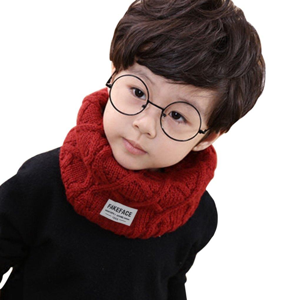 Unisex Baby Halstuch, Kinder Schals, Herbst Winter Jungen Mädchen Gestrickt wolle mit Polyester Kragen Schal Halstücher 42*24CM