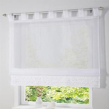 SIMPVALE 1 Stück Gardine Raffrollo Schlaufenschal Fenster Vorhang für  Küche, Wohnzimmer, Schlafzimmer, weiß, Breite 80cm / Höhe 165cm