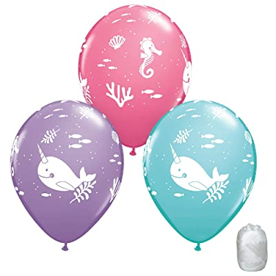 TCS Party Bundles 10 Pack Fun Under The Sea Pastel Latex Balloons with Matching Ribbon: Toys & Games