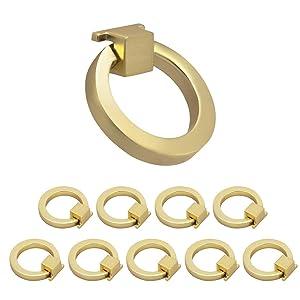 "Weaverbird Cabinet Knobs Gold Kitchen Hardware Drawer Pulls Rings 1.57"" Diameter, Pack of 10"