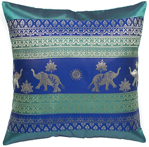 Avarada 16x16 Inch Print Elephant Sun Decorative Throw Pillow Case Cushion Cover for Sofa Couch Chair Bed Insert Not Included Zipper Green