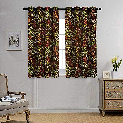 Earth TonesCustomizedCurtainsAntique Scroll Pattern with Royal Theme and Classical Details Curly Leaf Motifs Blackout Drapes W55 x L63(140cm x 160cm) Multicolor