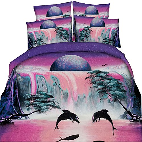 Waterfall Dolphin (HyUkoa 3D Pink Waterfall Jumping Dolphin Pattern for Adult/Kids Bedroom Home Textiles,4pcs(1 Duvet Cover+1 Flat Bed Sheet+2 Pillowcase) Full Size)