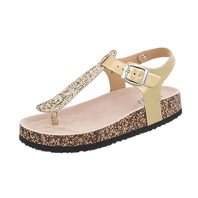 Ital Design Zehentrenner Damenschuhe Schnalle Sandalen Sandaletten