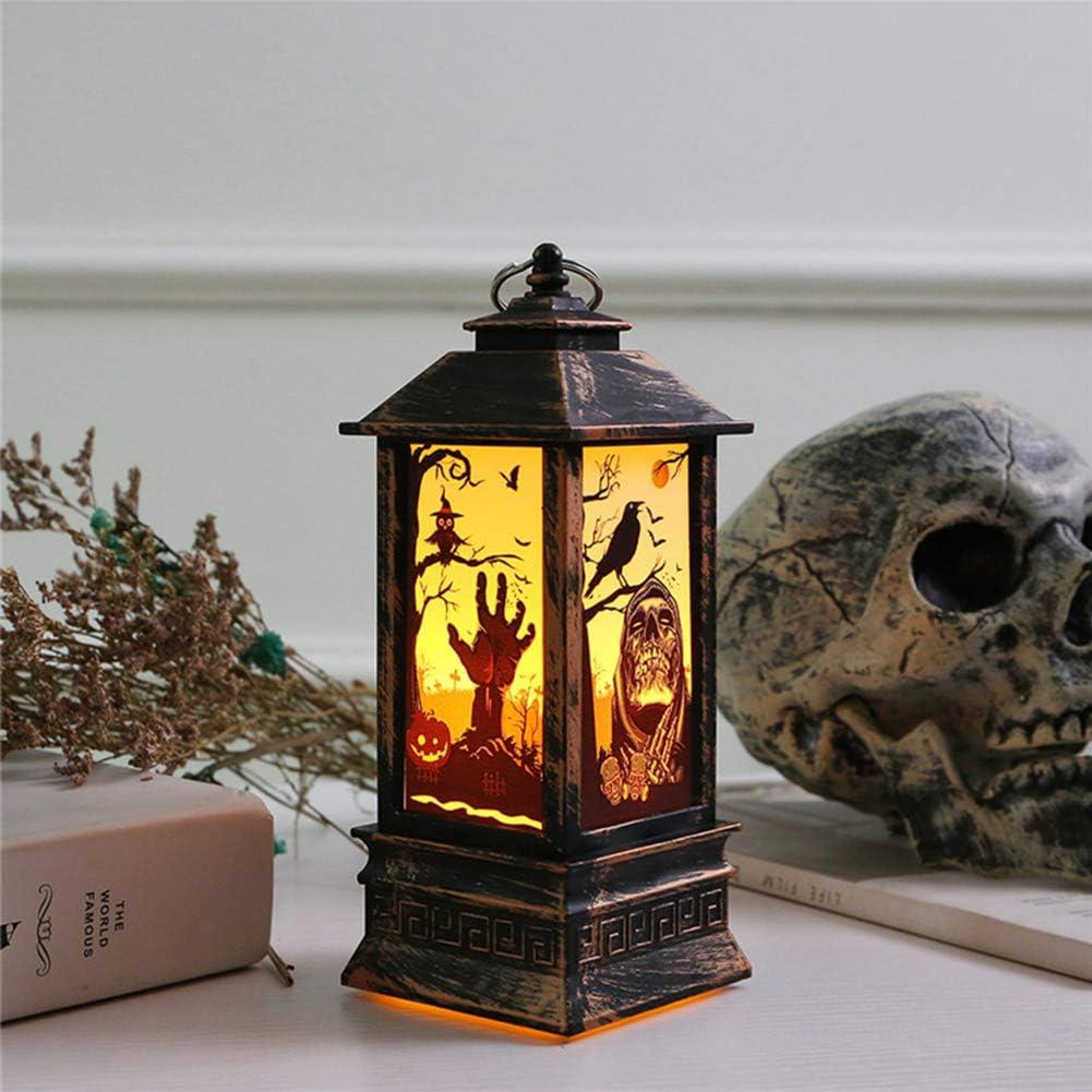 Citrouille f/ête Effet feu de bureau En acrylique transparent Lampe d/écorative /à LED Pour Halloween Citrouille Barre lumineuse en forme de cr/âne de sorci/ère