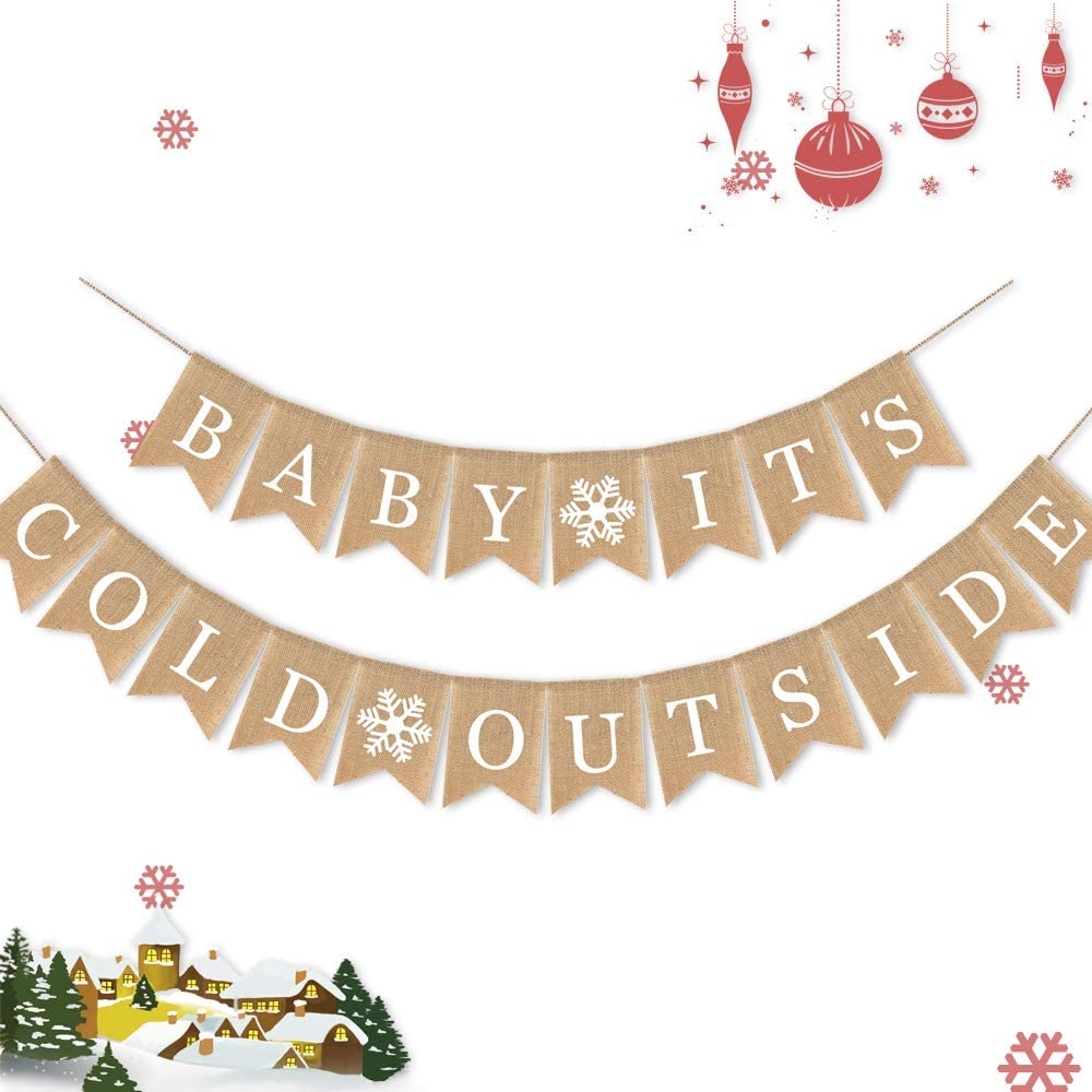 7-gost Burlap Baby It's Cold Outside Banner Baby Shower Party Winter Decoration Supplies