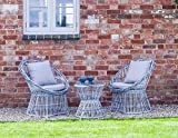 3 Piece Grey Garden Set Table & 2 Chairs Outdoor Seating Rattan Style