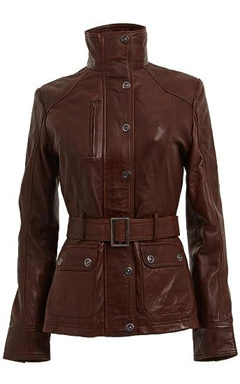 1e42d429e0 Women's Smart Retro 100% Brown Nappa Leather Jacket Military High Collar