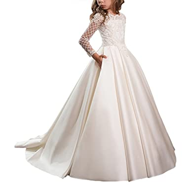 Gzcdress Long Sleeve First Communion Dresses for Girls Ball Gown Flower Girl Dresses Satin 02 Ivory