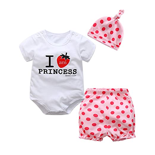 ee088585f657 Amazon.com: Summer Baby Boys Clothing Set Short Sleeve Printing Romper  +Pants+hat Fashion Baby Girls Clothes Newborn Suit: Clothing