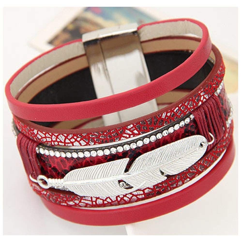 Jiuyuan Alloy Feather Leaves Wide Magnetic Leather Bracelets Bangles Multilayer Bracelets Jewelry Gift