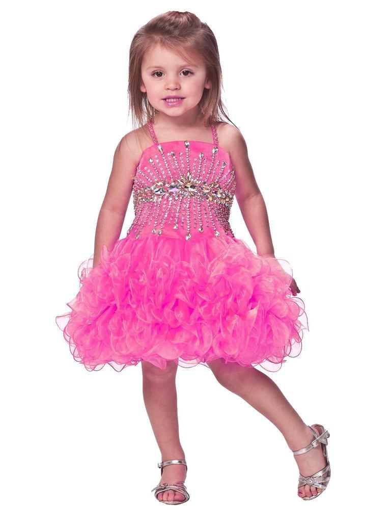 1b8c1c5a608 Amazon.com  Aisha Little Girls Cupcake Dress Infant Crytal Beading Mini  Dress 3 3T US Hot Pink  Baby