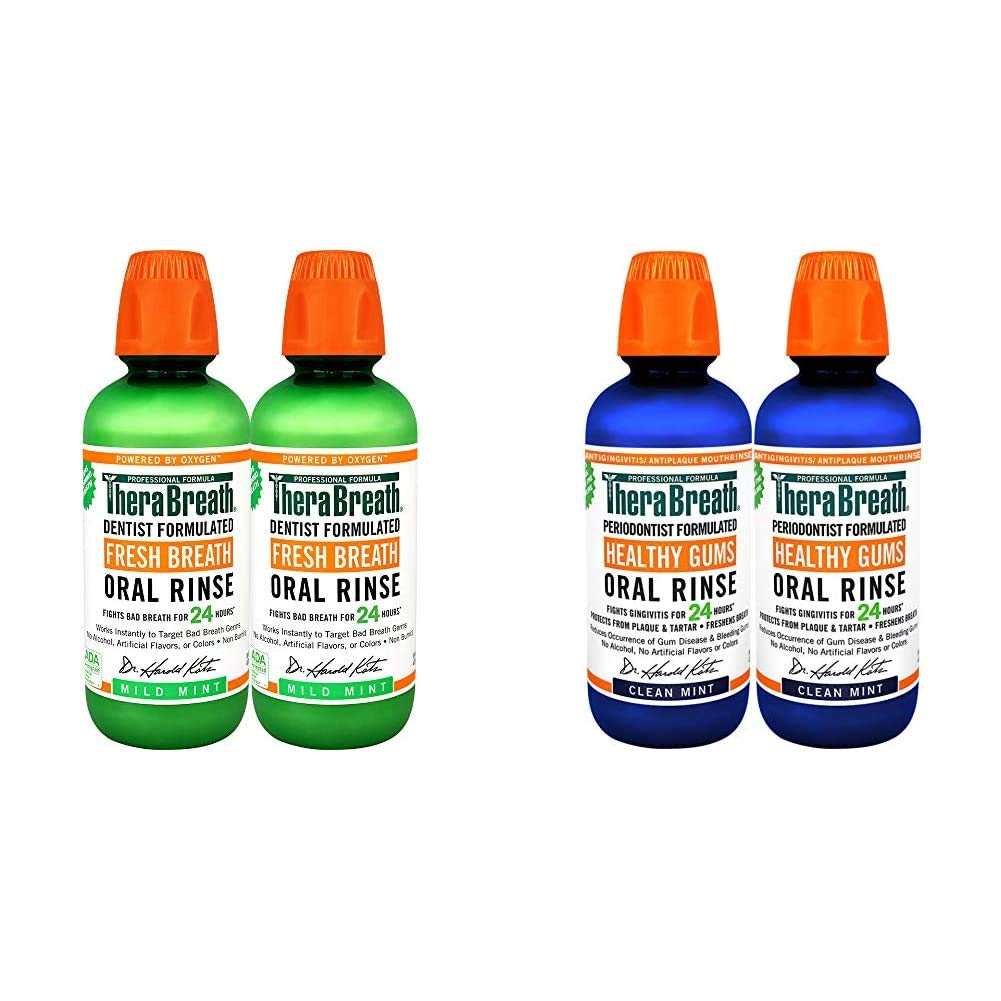 TheraBreath Fresh Breath Oral Rinse, Mild Mint, 16 Ounce Bottle (Pack of 2) and TheraBreath 24 Hour Healthy Gums Periodontist Formulated Oral Rinse, 16 Ounce (Pack of 2)
