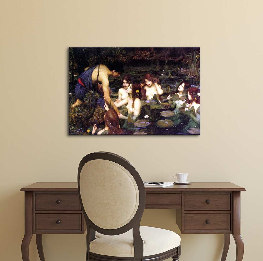 Hylas and The Nymphs 1896 by John William Waterhouse – Canvas Print Wall Art Famous Painting Reproduction – 32 x 48
