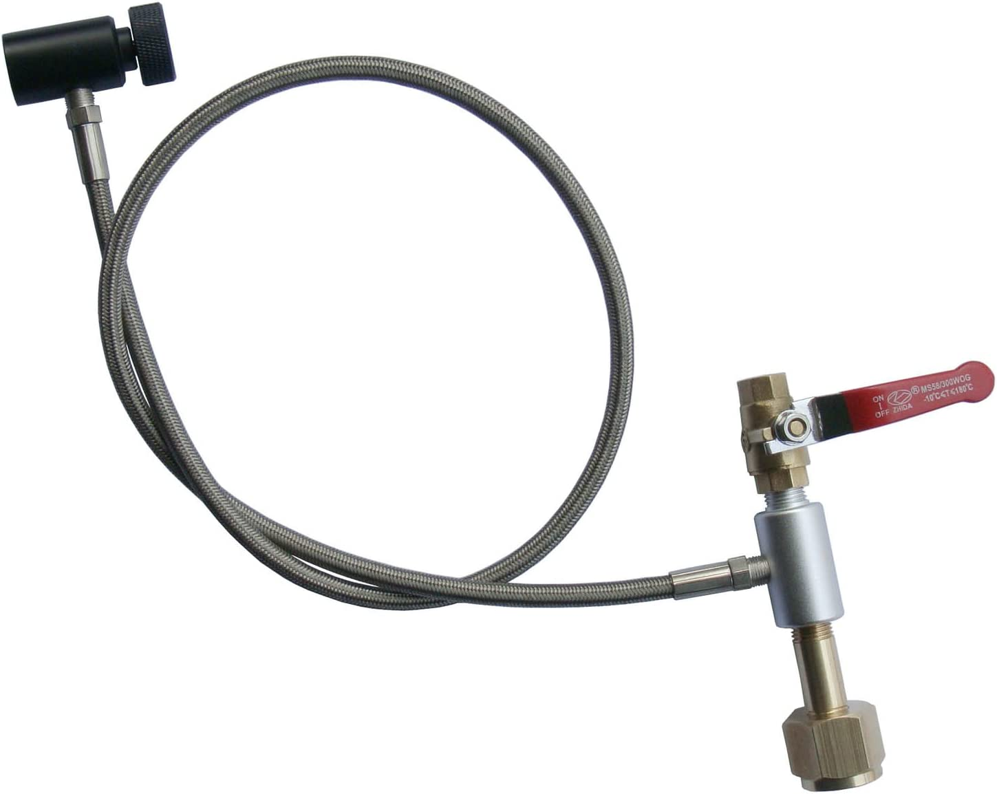 "Paintball 36"" Single Valve CO2 Fill Station,Stainless Steel Braided Hose Line"