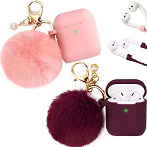Filoto Case for Airpods , Filoto Airpod Case Cover for Apple Airpods 2&1 Charging Case, Cute AirPods Silicone Soft Case Accessories Keychain/Skin/Pompom/Strap (Burgundy+Pink)