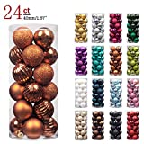 "KI Store 24ct Christmas Ball Ornaments Shatterproof Christmas Decorations Tree Balls SMALL for Holiday Wedding Party Decoration, Tree Ornaments Hooks included 1.57"" (40mm Silver)"