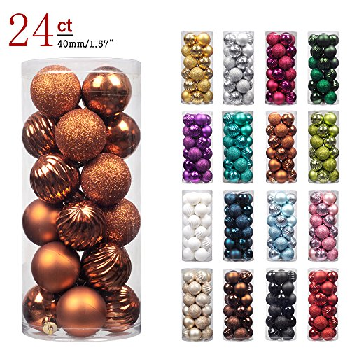 """Copper Ornaments (KI Store 24ct Christmas Ball Ornaments Shatterproof Christmas Decorations Tree Balls Small for Holiday Wedding Party Decoration, Tree Ornaments Hooks included 1.57"""" (40mm Bronze))"""