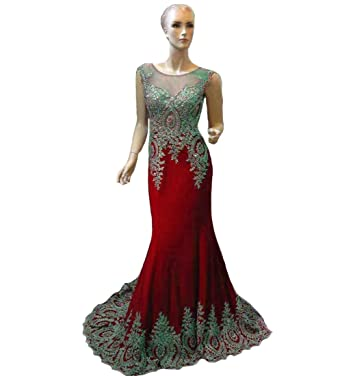 b17a1eb97ef Lemai Sheer Scoop Neckline Crystals Gold Lace Formal Spandex Prom Evening  Dresses Red US2