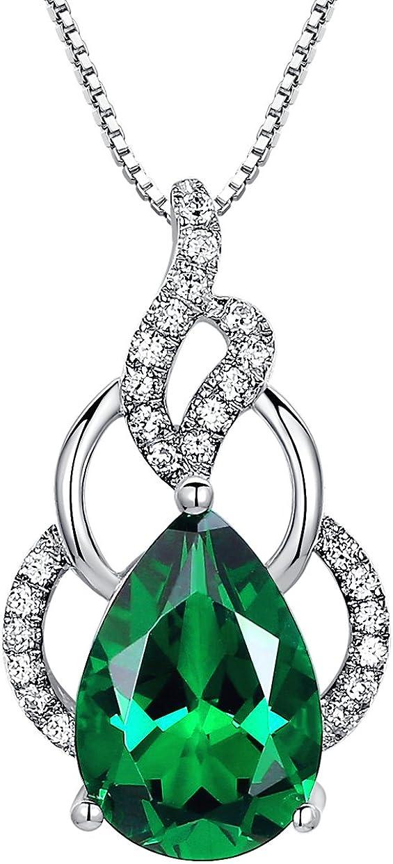 Arco Iris Jewelry Colgante de collar de la mujer de plata de ley con Esmeralda, lágrima forma de 4,5 quilates, cadena de veneciana, 46cm